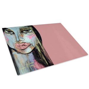 Blue Pink Face Cool Glass Chopping Board Kitchen Worktop Saver Protector - AB337-Abstract Chopping Board-WhatsOnYourWall