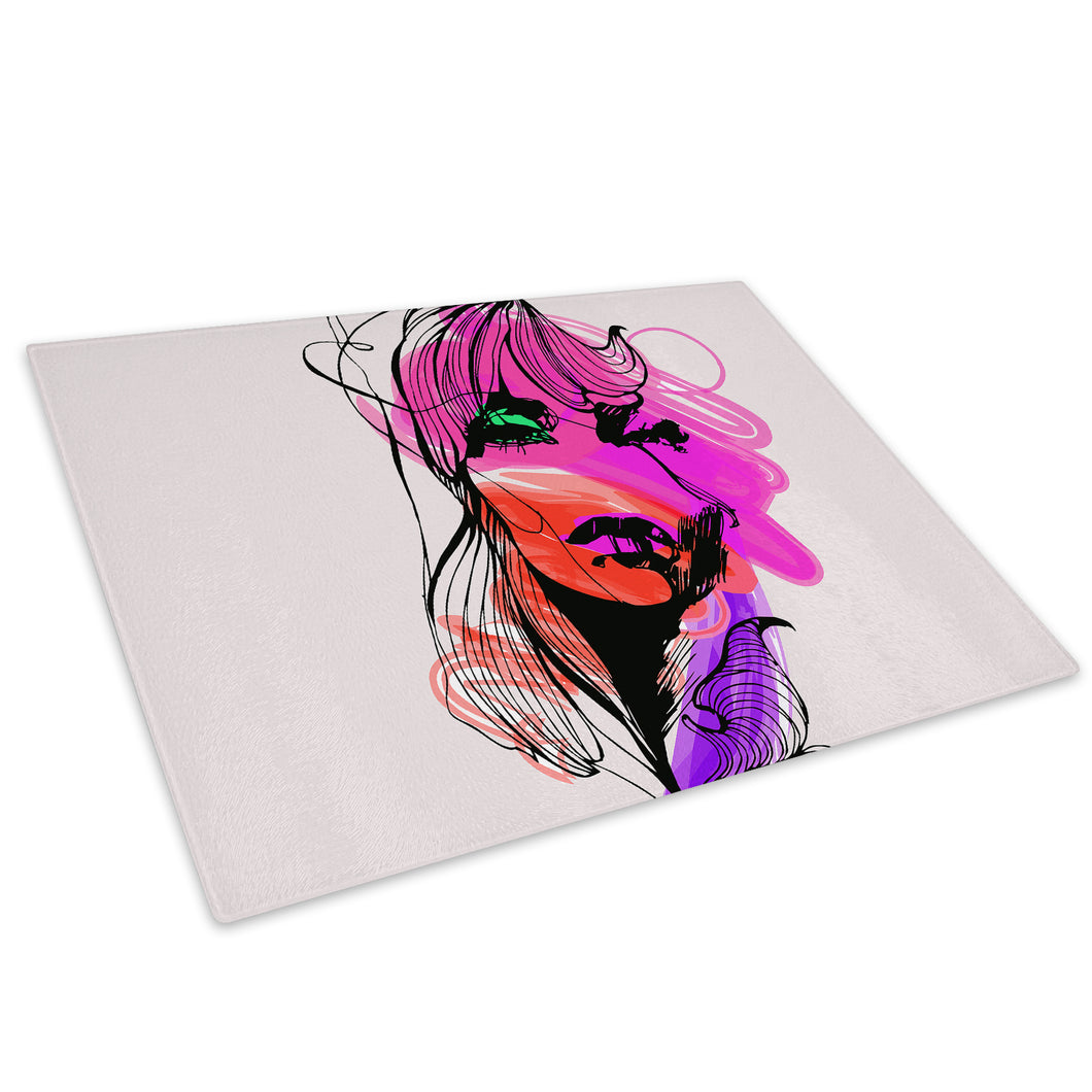 Pink Orange Woman Glass Chopping Board Kitchen Worktop Saver Protector - AB339-Abstract Chopping Board-WhatsOnYourWall