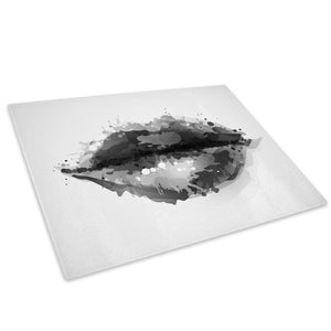 Black White Lips Cool Glass Chopping Board Kitchen Worktop Saver Protector - AB340-Abstract Chopping Board-WhatsOnYourWall
