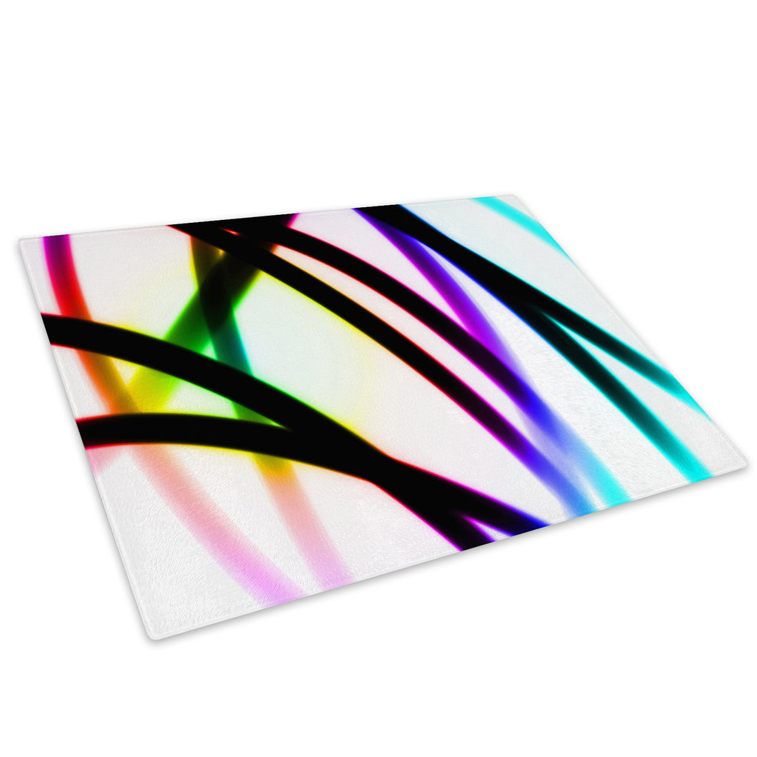 Pink Purple White Glass Chopping Board Kitchen Worktop Saver Protector - AB343-Abstract Chopping Board-WhatsOnYourWall