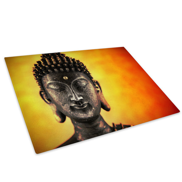 Orange Red Buddha Glass Chopping Board Kitchen Worktop Saver Protector - AB344-Abstract Chopping Board-WhatsOnYourWall
