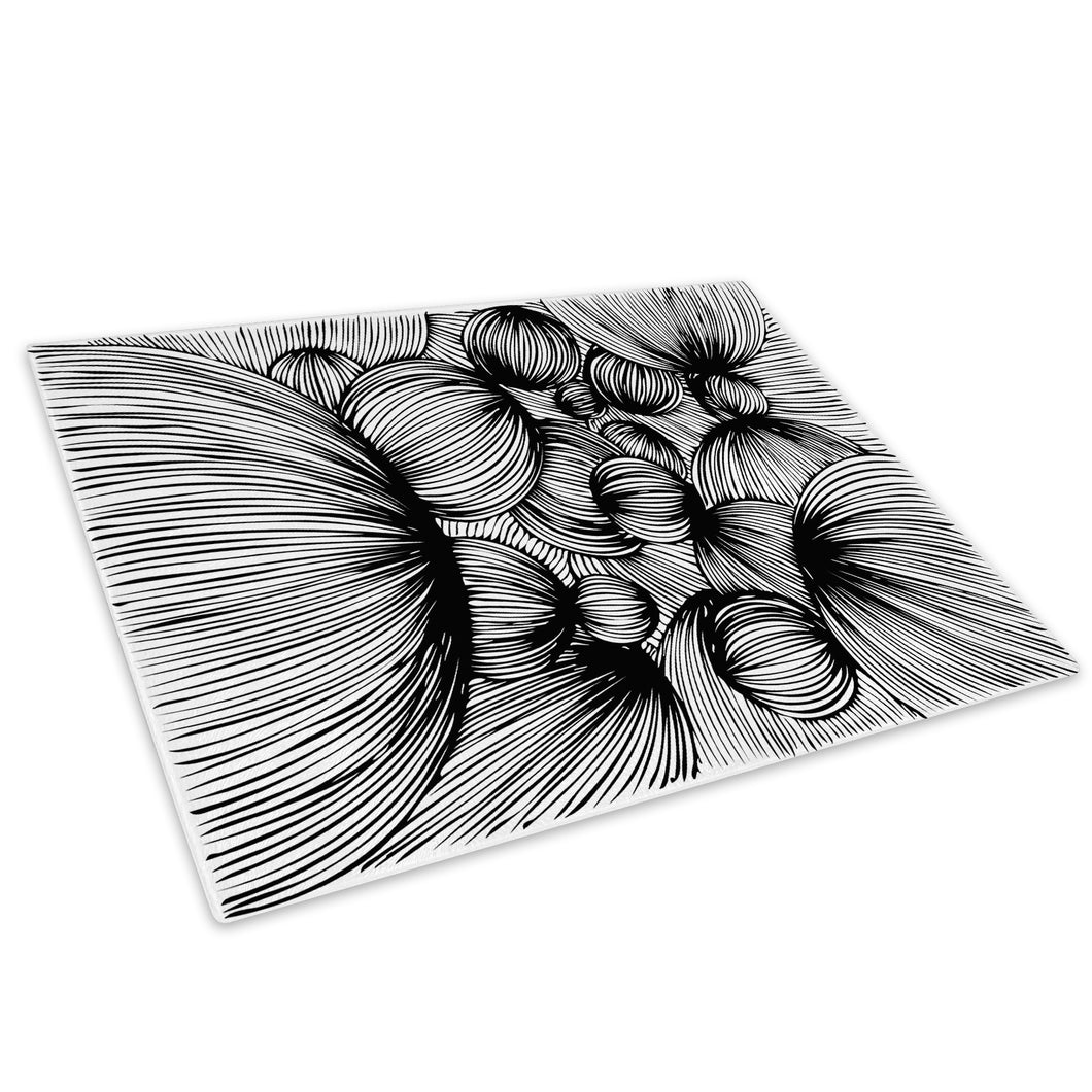 Black White Grey Cool Glass Chopping Board Kitchen Worktop Saver Protector - AB348-Abstract Chopping Board-WhatsOnYourWall