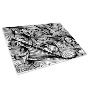 Black White Grey Cool Glass Chopping Board Kitchen Worktop Saver Protector - AB349-Abstract Chopping Board-WhatsOnYourWall