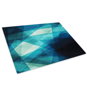Blue Black Geometric Glass Chopping Board Kitchen Worktop Saver Protector - AB351-Abstract Chopping Board-WhatsOnYourWall