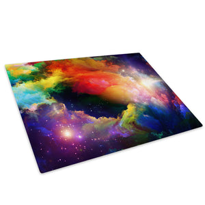 Colourful Stars Cool Glass Chopping Board Kitchen Worktop Saver Protector - AB357-Abstract Chopping Board-WhatsOnYourWall