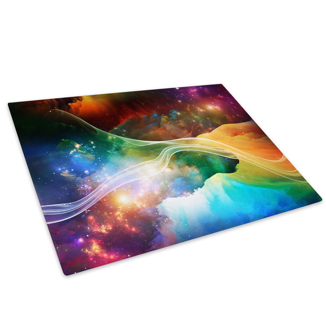 Colourful Stars Cool Glass Chopping Board Kitchen Worktop Saver Protector - AB360-Abstract Chopping Board-WhatsOnYourWall