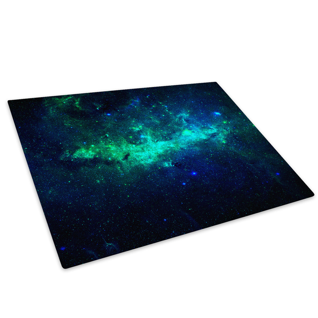 Blue Green Stars Cool Glass Chopping Board Kitchen Worktop Saver Protector - AB363-Abstract Chopping Board-WhatsOnYourWall