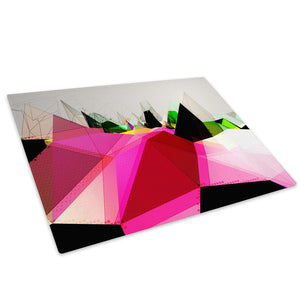 Pink Black Geometric Glass Chopping Board Kitchen Worktop Saver Protector - AB367-Abstract Chopping Board-WhatsOnYourWall