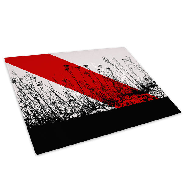 Red Black Flower Cool Glass Chopping Board Kitchen Worktop Saver Protector - AB368-Abstract Chopping Board-WhatsOnYourWall