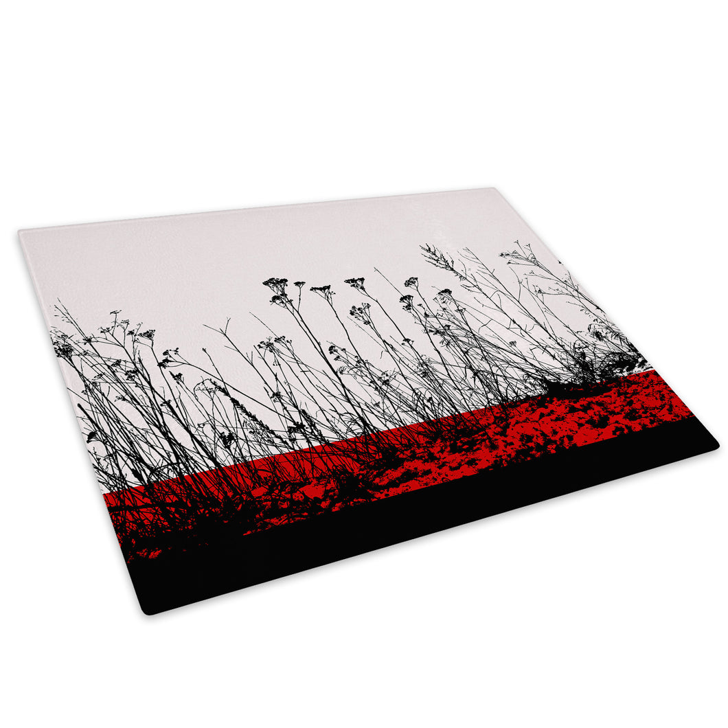 Red Black Flower Cool Glass Chopping Board Kitchen Worktop Saver Protector - AB369-Abstract Chopping Board-WhatsOnYourWall