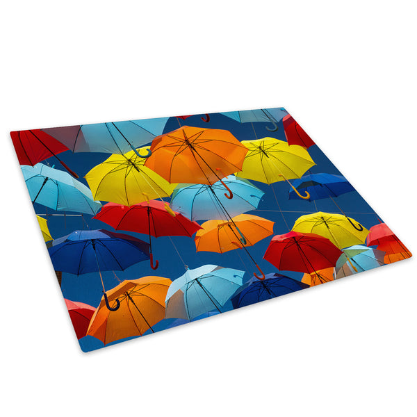 Yellow Blue Umbrella Glass Chopping Board Kitchen Worktop Saver Protector - AB371-Abstract Chopping Board-WhatsOnYourWall