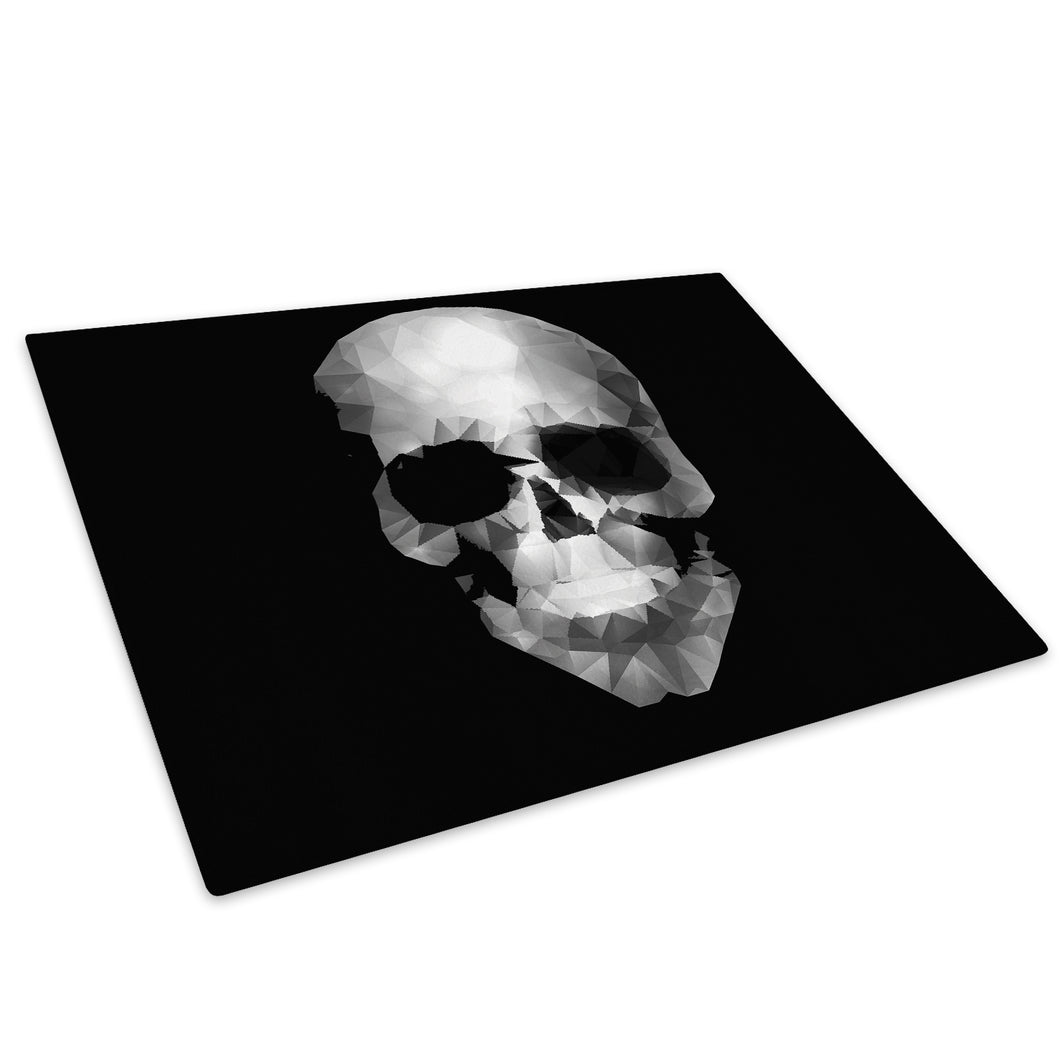 Black White Skull Glass Chopping Board Kitchen Worktop Saver Protector - AB376-Abstract Chopping Board-WhatsOnYourWall