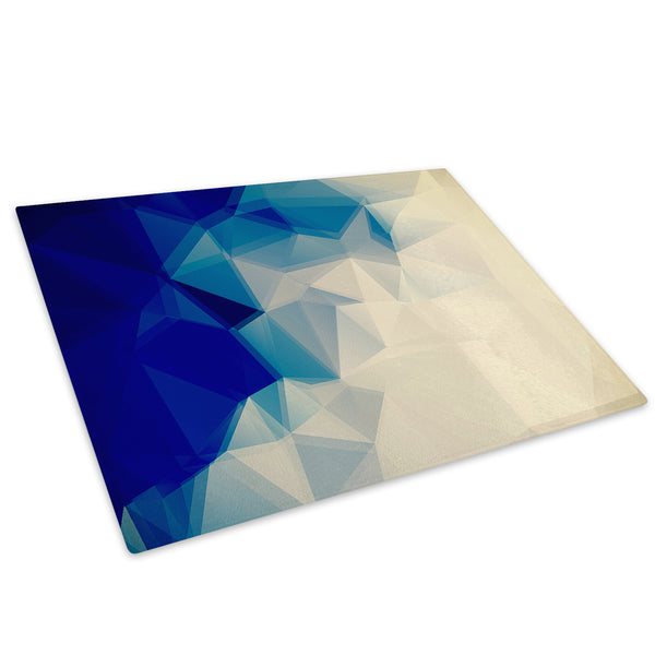 Blue Cream Geometric Glass Chopping Board Kitchen Worktop Saver Protector - AB377-Abstract Chopping Board-WhatsOnYourWall
