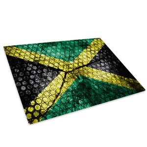 Retro Jamaica Flag Glass Chopping Board Kitchen Worktop Saver Protector - AB378-Abstract Chopping Board-WhatsOnYourWall