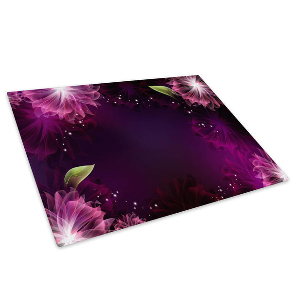 Pink Purple Flower Glass Chopping Board Kitchen Worktop Saver Protector - AB383-Abstract Chopping Board-WhatsOnYourWall