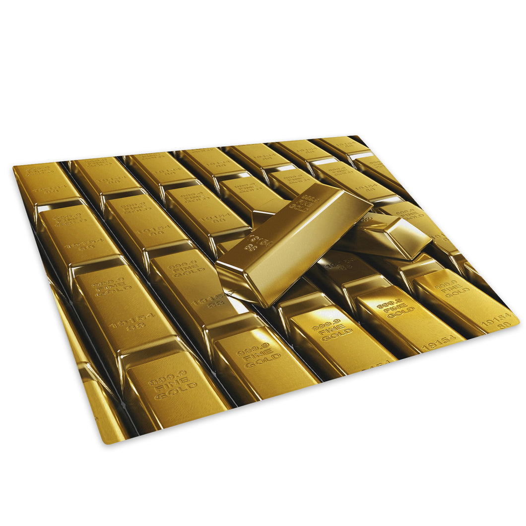 Retro Gold Bars Cool Glass Chopping Board Kitchen Worktop Saver Protector - AB397-Abstract Chopping Board-WhatsOnYourWall