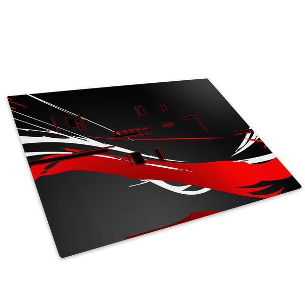 Red Black White Cool Glass Chopping Board Kitchen Worktop Saver Protector - AB401-Abstract Chopping Board-WhatsOnYourWall