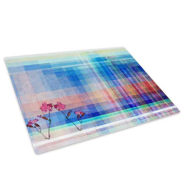Blue Red Flower Cool Glass Chopping Board Kitchen Worktop Saver Protector - AB407-Abstract Chopping Board-WhatsOnYourWall