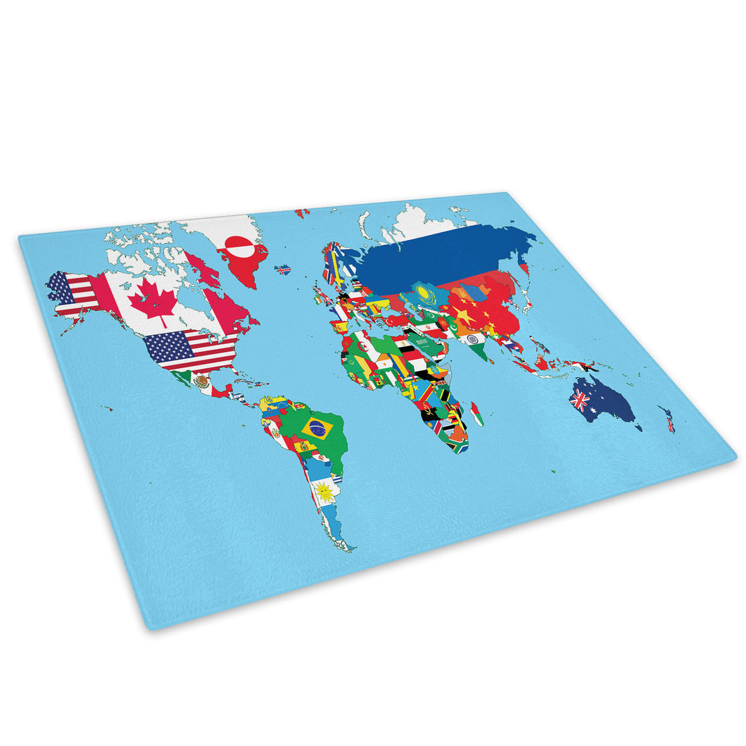 Colourful Map Flags Glass Chopping Board Kitchen Worktop Saver Protector - AB412-Abstract Chopping Board-WhatsOnYourWall