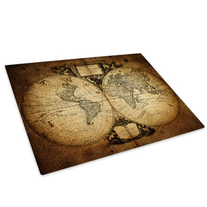 Retro Vintage Map Glass Chopping Board Kitchen Worktop Saver Protector - AB414-Abstract Chopping Board-WhatsOnYourWall