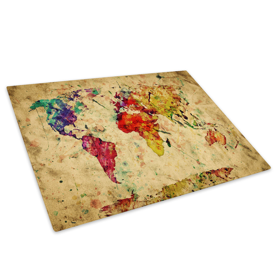 Retro Colourful Map Glass Chopping Board Kitchen Worktop Saver Protector - AB415-Abstract Chopping Board-WhatsOnYourWall