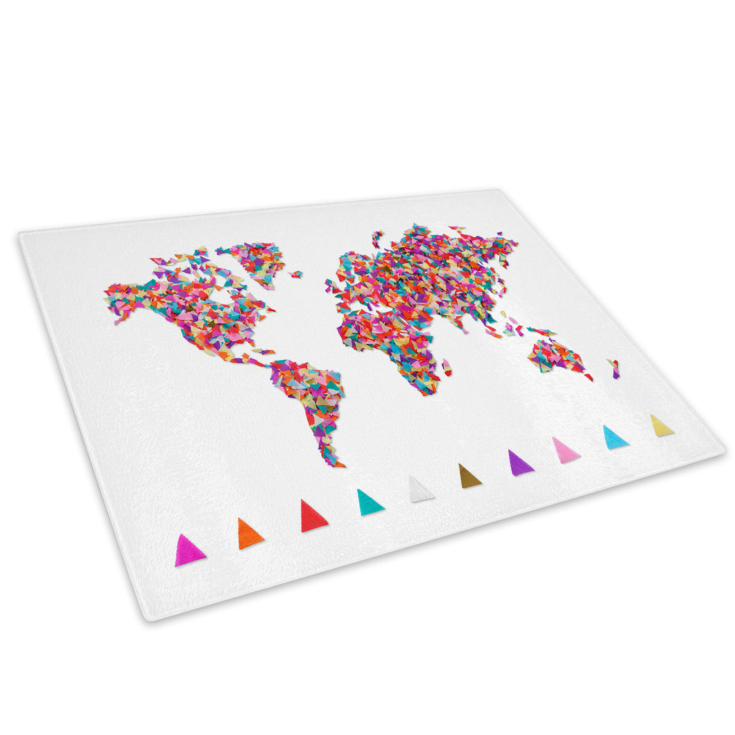 Colourful Map Cool Glass Chopping Board Kitchen Worktop Saver Protector - AB418-Abstract Chopping Board-WhatsOnYourWall