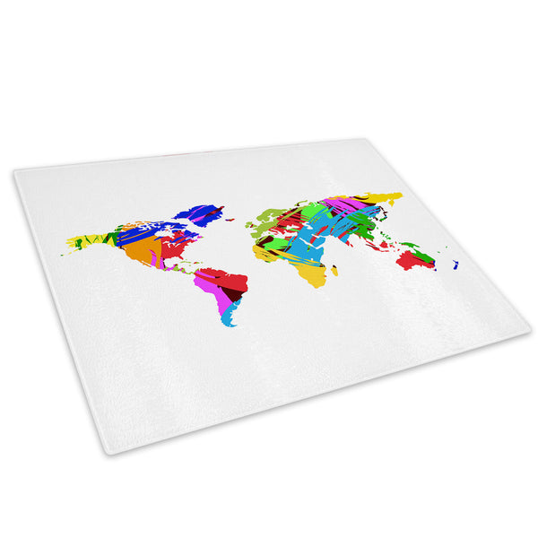 Colourful Map Cool Glass Chopping Board Kitchen Worktop Saver Protector - AB419-Abstract Chopping Board-WhatsOnYourWall