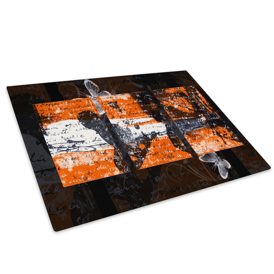 Orange Black Grey Glass Chopping Board Kitchen Worktop Saver Protector - AB432-Abstract Chopping Board-WhatsOnYourWall