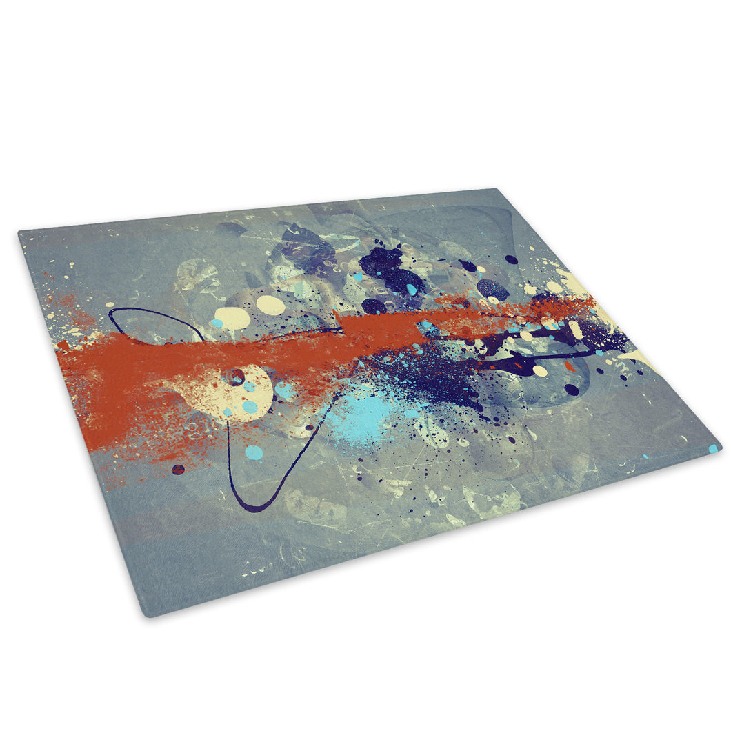 Orange Grey Blue Cool Glass Chopping Board Kitchen Worktop Saver Protector - AB439-Abstract Chopping Board-WhatsOnYourWall