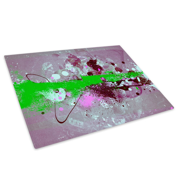 Green Pink Purple Glass Chopping Board Kitchen Worktop Saver Protector - AB440-Abstract Chopping Board-WhatsOnYourWall