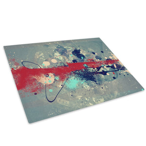 Red Grey Blue Cool Glass Chopping Board Kitchen Worktop Saver Protector - AB441-Abstract Chopping Board-WhatsOnYourWall