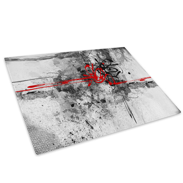 Red Grey Black Cool Glass Chopping Board Kitchen Worktop Saver Protector - AB446-Abstract Chopping Board-WhatsOnYourWall