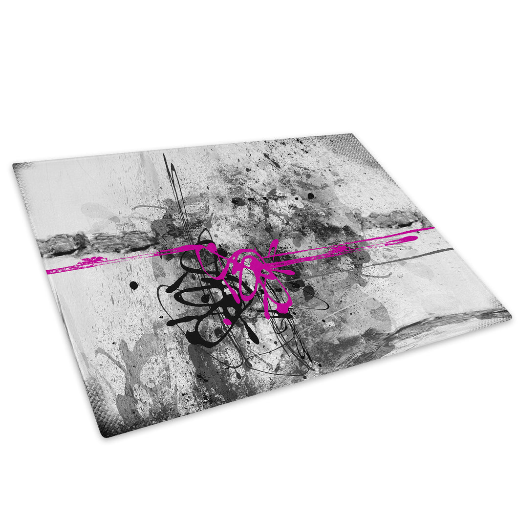 Pink Grey Black Cool Glass Chopping Board Kitchen Worktop Saver Protector - AB454-Abstract Chopping Board-WhatsOnYourWall