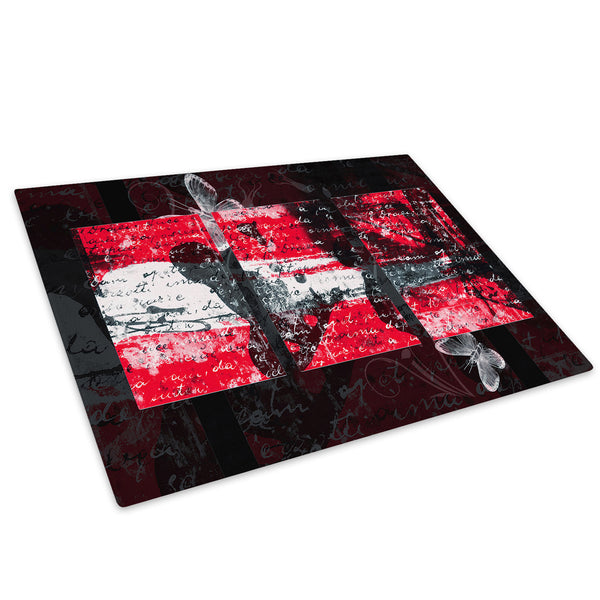 Red Grey Black Cool Glass Chopping Board Kitchen Worktop Saver Protector - AB455-Abstract Chopping Board-WhatsOnYourWall