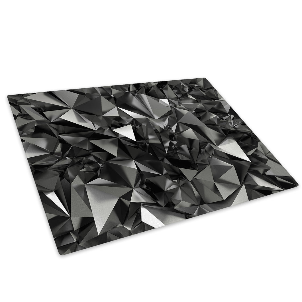 Black Geometric Cool Glass Chopping Board Kitchen Worktop Saver Protector - AB465-Abstract Chopping Board-WhatsOnYourWall