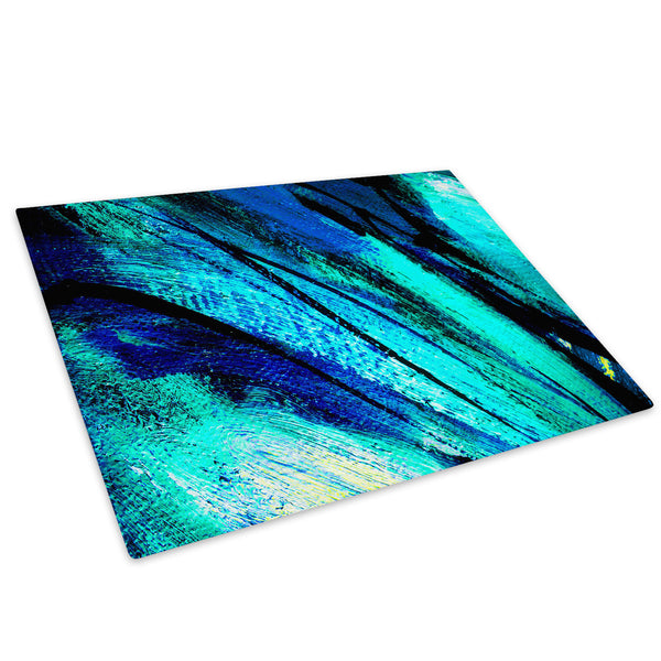 Blue Teal Black Cool Glass Chopping Board Kitchen Worktop Saver Protector - AB479-Abstract Chopping Board-WhatsOnYourWall
