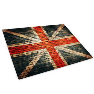 Retro Union Jack Flag Glass Chopping Board Kitchen Worktop Saver Protector - AB483-Abstract Chopping Board-WhatsOnYourWall