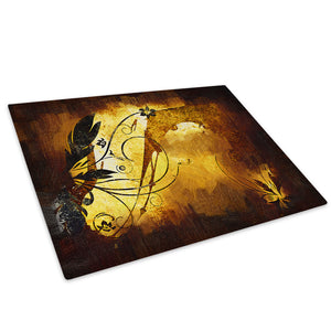 Brown Retro Flower Glass Chopping Board Kitchen Worktop Saver Protector - AB492-Abstract Chopping Board-WhatsOnYourWall