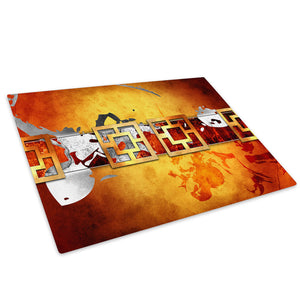 Brown Red Orange Cool Glass Chopping Board Kitchen Worktop Saver Protector - AB493-Abstract Chopping Board-WhatsOnYourWall