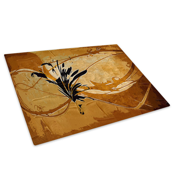 Brown Retro Flower Glass Chopping Board Kitchen Worktop Saver Protector - AB494-Abstract Chopping Board-WhatsOnYourWall