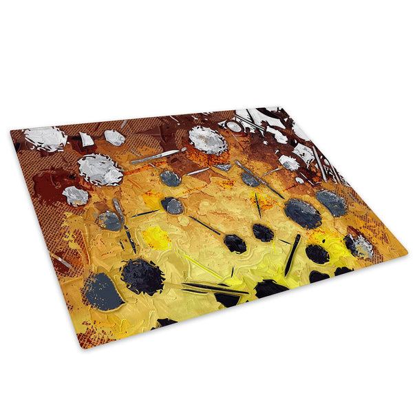Yellow Brown Grey Glass Chopping Board Kitchen Worktop Saver Protector - AB503-Abstract Chopping Board-WhatsOnYourWall