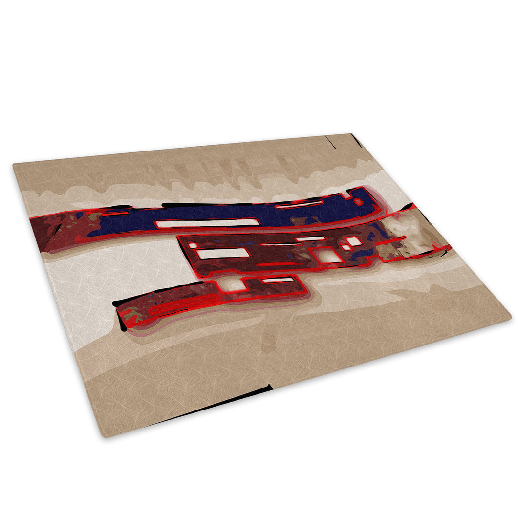 Red Brown Retro Cool Glass Chopping Board Kitchen Worktop Saver Protector - AB504-Abstract Chopping Board-WhatsOnYourWall