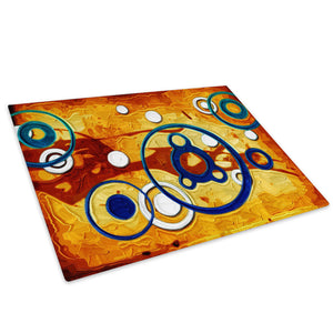 Orange Brown Blue Glass Chopping Board Kitchen Worktop Saver Protector - AB505-Abstract Chopping Board-WhatsOnYourWall