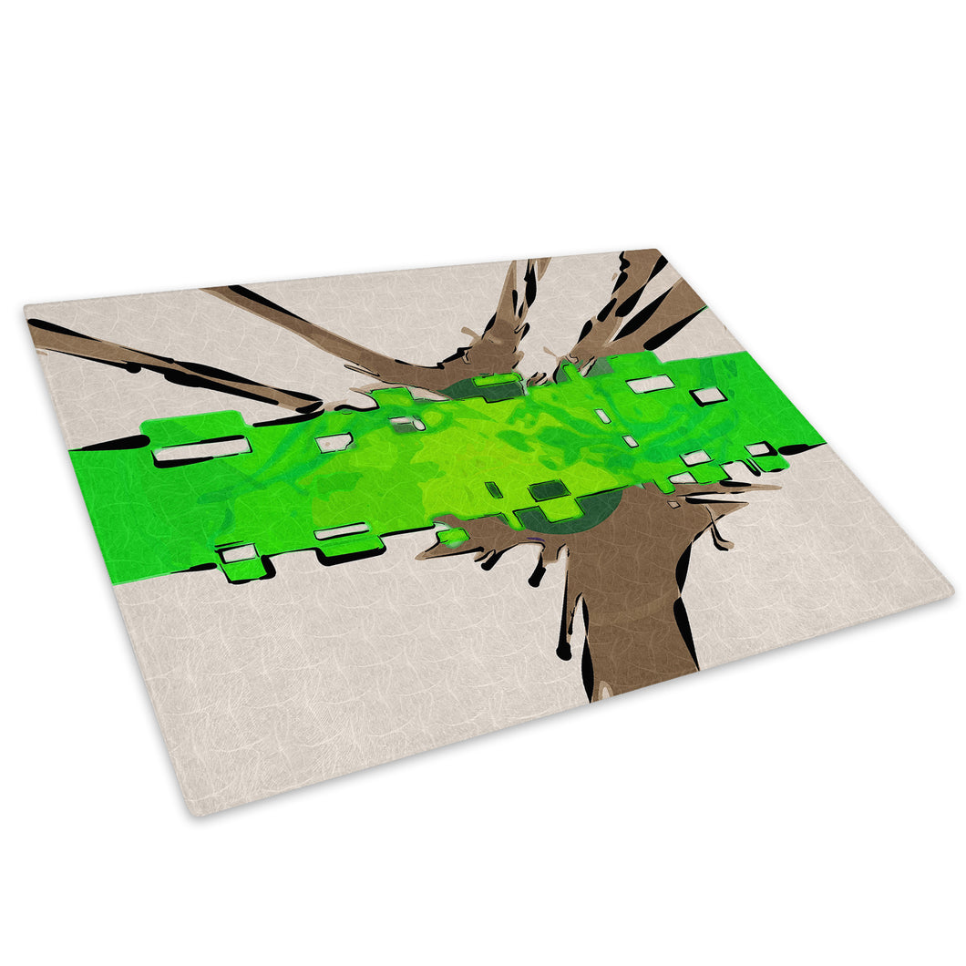 Green Brown Retro Glass Chopping Board Kitchen Worktop Saver Protector - AB507-Abstract Chopping Board-WhatsOnYourWall