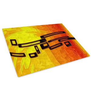 Orange Yellow Black Glass Chopping Board Kitchen Worktop Saver Protector - AB508-Abstract Chopping Board-WhatsOnYourWall