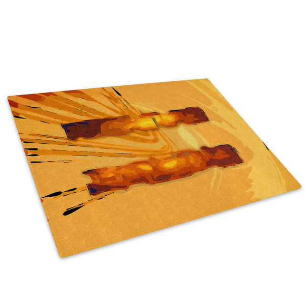 Brown Yellow Cool Glass Chopping Board Kitchen Worktop Saver Protector - AB509-Abstract Chopping Board-WhatsOnYourWall
