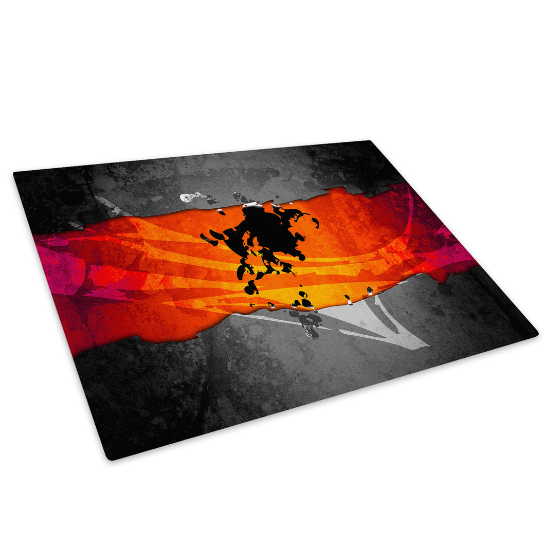 Orange Grey Black Glass Chopping Board Kitchen Worktop Saver Protector - AB510-Abstract Chopping Board-WhatsOnYourWall