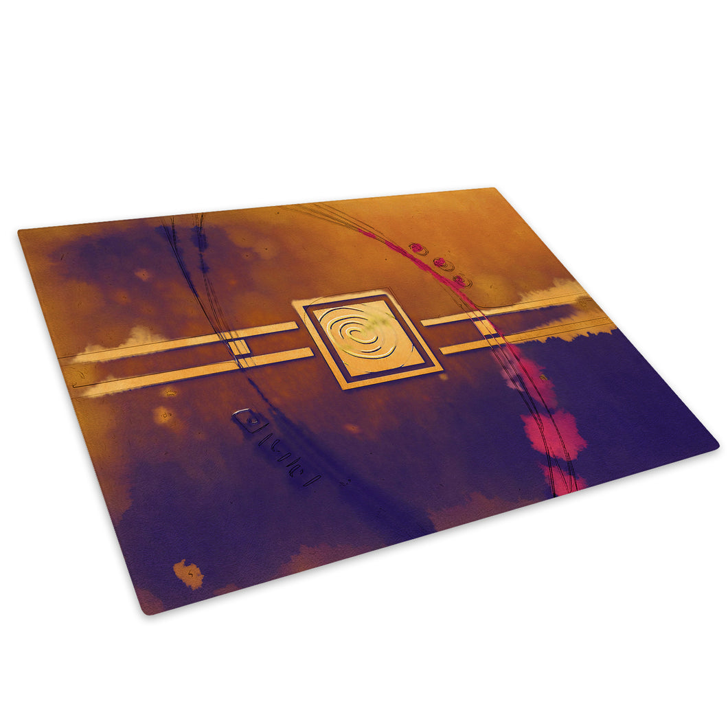 Brown Purple Stripe Glass Chopping Board Kitchen Worktop Saver Protector - AB514-Abstract Chopping Board-WhatsOnYourWall