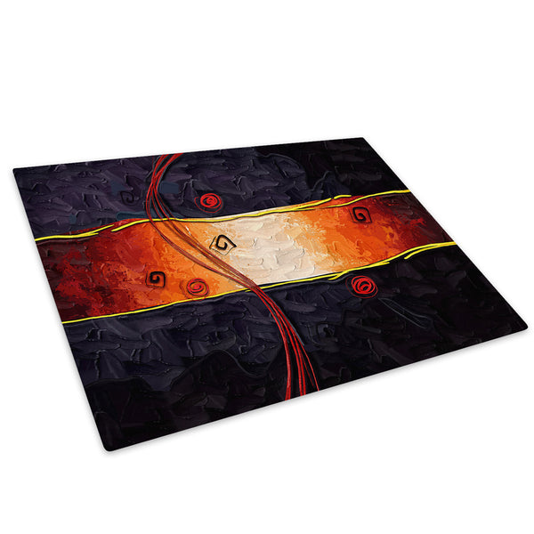 Orange Black Stripe Glass Chopping Board Kitchen Worktop Saver Protector - AB515-Abstract Chopping Board-WhatsOnYourWall