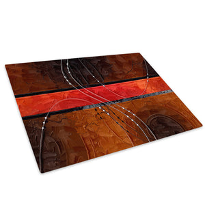 Brown Red Black Stripe Glass Chopping Board Kitchen Worktop Saver Protector - AB516-Abstract Chopping Board-WhatsOnYourWall